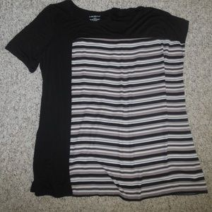 Lane Bryant 14/16 Black Beige Full Cut Shirt Top